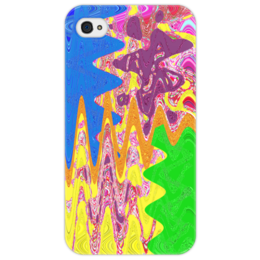 """Чехол для iPhone 4/4S """"Зигзаги"""" - зеленый, синий, змейка, полоски, зигзаги"""