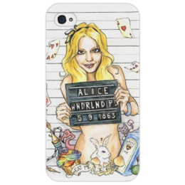 "Чехол для iPhone 4/4S ""Alice in Wonderland"" - алиса, страна чудес, стеб"