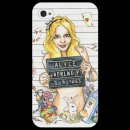"""Чехол для iPhone 4/4S """"Alice in Wonderland"""" - алиса, страна чудес, стеб"""