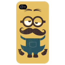 "Чехол для iPhone 4/4S ""Миньон с усами"" - стиль, очки, усы, джентльмен, миньон, minion, mustache, despicable me"