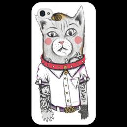 """Чехол для iPhone 4/4S """"Art кот"""" - cat, в подарок, оригинально, hipster"""