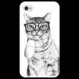 """Чехол для iPhone 4/4S """"Кот и мышка"""" - кот, прикольно, mouse, очки, cat, glasses"""