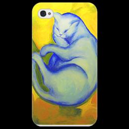 "Чехол для iPhone 4/4S ""Синий кот на желтой подушке "" - кот, cat, синий, blue"