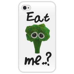 """Чехол для iPhone 4/4S """"Eat me..?"""" - еда, печаль, мимими, брокколи, broccoli"""