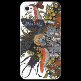 """Чехол для iPhone 4/4S """"дюймовочка"""" - бабочка, осень, в подарок, лес, природа, насекомые, грибы, жуки"""