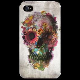 """Чехол для iPhone 4/4S """"Цветочный череп"""" - skull, череп, арт, цветы, стиль, цветение, blossom"""