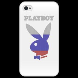 """Чехол для iPhone 4/4S """"Playboy Россия"""" - playboy, россия, плейбой, зайчик, плэйбой"""