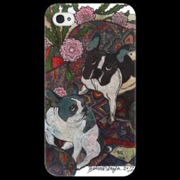 """Чехол для iPhone 4/4S """"французские бульдоги"""" - картинка, собаки, бульдоги, французские бульдоги"""