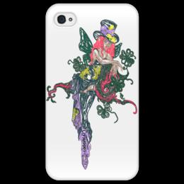 """Чехол для iPhone 4/4S """"Ядовитый плющ"""" - череп, девушка, эльф, королева марго, трелистник"""