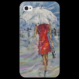 """Чехол для iPhone 4/4S """"Девушка в красном"""" - красиво, для любимой, красивый подарок, под зонтом, в городе"""