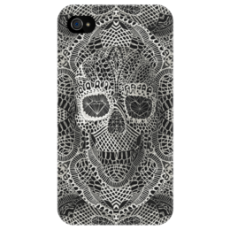 "Чехол для iPhone 4/4S ""Череп 3d"" - skull, череп, арт, black and white, 3d"