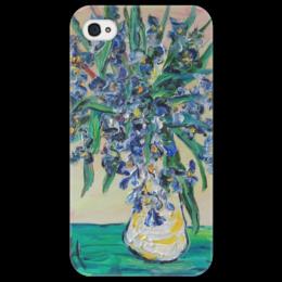 """Чехол для iPhone 4/4S """"Ирисы"""" - девушке, ирисы, красивый, букет, в вазе"""