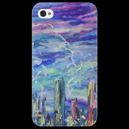 """Чехол для iPhone 4/4S """"Молния"""" - гроза, красота, подарок, молния, над городом"""
