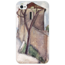 """Чехол для iPhone 4/4S """"Дерево и дом"""" - картина, модильяни"""