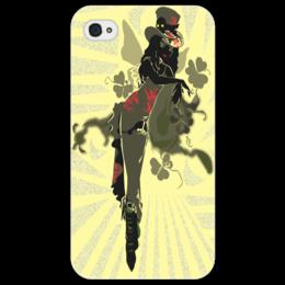 """Чехол для iPhone 4/4S """"Ядовитый плющ."""" - череп, девушка, ядовитый плющ, негритянка, трилистники"""