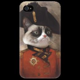 """Чехол для iPhone 4/4S """"Кот Генерал"""" - кот, прикольно, арт, популярные, cat, котэ, генерал"""