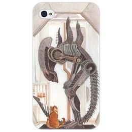 """Чехол для iPhone 4/4S """"Чужой и Котик"""" - кот, космос, alien, кино, чужой"""
