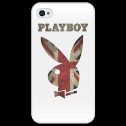 """Чехол для iPhone 4/4S """"Playboy Британский флаг"""" - playboy, плейбой, зайчик, великобритания, плэйбой"""