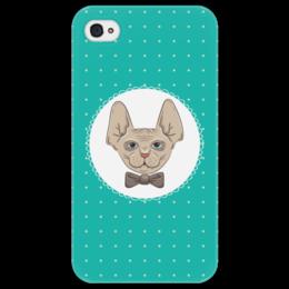 """Чехол для iPhone 4/4S """"Кот сфинкс"""" - кот, арт, бабочка, галстук, сфинкс"""