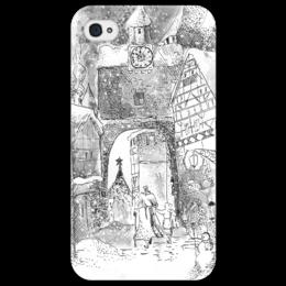 """Чехол для iPhone 4/4S """"Зимний город"""" - арт, новый год, зима, иллюстрация, тушь, чехол"""