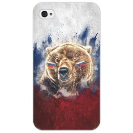 "Чехол для iPhone 4/4S ""Русский Медведь"" - флаг, триколор, россия, футбол, медведь"