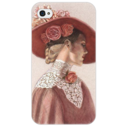 "Чехол для iPhone 4/4S ""Дама в шляпе"" - lady, hat, rosses, дама"