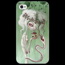 "Чехол для iPhone 4/4S ""Девушка с яблоком (зомби)"" - змея, девушка, хэллоуин, zombie, зомби"