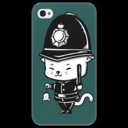 """Чехол для iPhone 4/4S """"котик полицейский"""" - кот, мышь, полиция, правосудие, орест"""