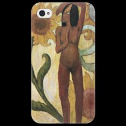 """Чехол для iPhone 4/4S """"Карибская женщина, или Обнаженная с подсолнухами"""" - картина, поль гоген"""