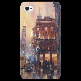"Чехол для iPhone 4/4S ""RussiaLife"" - город, city, night, rain, вечер"