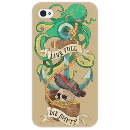 """Чехол для iPhone 4/4S """"Осьминог"""" - татуировка, якорь, пират, old school, череп"""