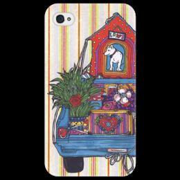 """Чехол для iPhone 4/4S """"переезд с собакой2"""" - смешное, в подарок, собака, машина, оригинально, телефон, коробки"""