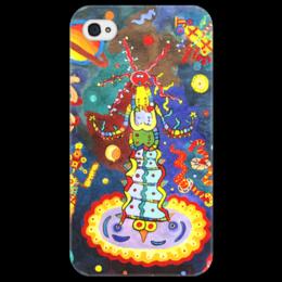 """Чехол для iPhone 4/4S """"Космический арт"""" - ручная работа, детский рисунок, от детей, детская работа"""