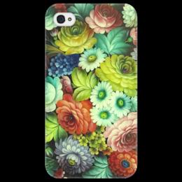 """Чехол для iPhone 4/4S """"В стиле жостовского подноса"""" - цветы, узор, жостово, жостовская роспись"""