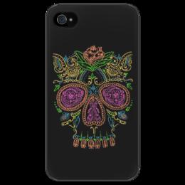 """Чехол для iPhone 4/4S """"Сахарный череп"""" - skull, череп, арт, стиль, цветы"""