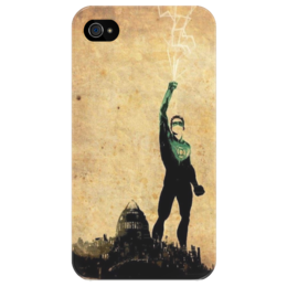 """Чехол для iPhone 4/4S """"зеленый фонарь"""" - комиксы, dc, зеленый фонарь, лига справедливости"""