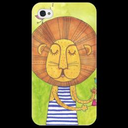 """Чехол для iPhone 4/4S """"Лев Бонифаций в тельняжке"""" - лев, акварель, грива, бонифаций, тельняжка"""