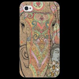 """Чехол для iPhone 4/4S """"слон нарядный расписной"""" - сердечко, слон, индия"""
