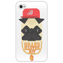 "Чехол для iPhone 4/4S ""Grand Master Bit"" - rap, pug, рэп, собака, swag, вектор, хип-хоп, вектор арт, цепи, мопс"