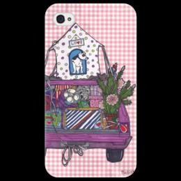 """Чехол для iPhone 4/4S """"переезд с собакой"""" - смешное, прикольные, в подарок, собака, машина, коробки"""