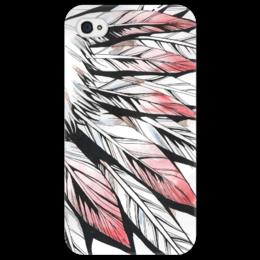 """Чехол для iPhone 4/4S """"Перья"""" - рисунок, графика, акварель, перья"""