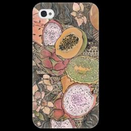 """Чехол для iPhone 4/4S """"завтрак на пляже"""" - арт, в подарок, оригинально, арбуз, ракушка, орхидея, манго, папайя"""