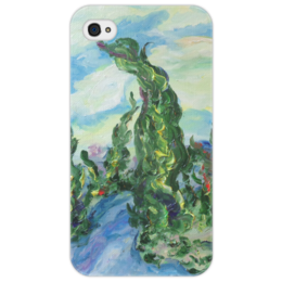 """Чехол для iPhone 4/4S """"Ветер"""" - дорога, горы, испания, кипарисы, красивый подарок"""