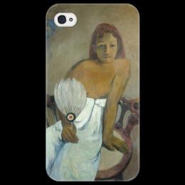 """Чехол для iPhone 4/4S """"Девушка с веером"""" - картина, поль гоген"""