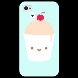 """Чехол для iPhone 4/4S """"Мороженое и вишенка."""" - арт, мороженое, вишня, еда"""