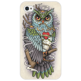"Чехол для iPhone 4/4S ""Tattoo"" - сова, филин, тату, owl"