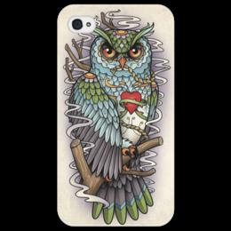 "Чехол для iPhone 4/4S ""Tattoo"" - owl, сова, филин, тату"