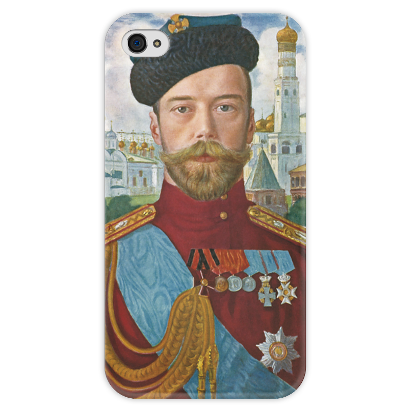 Чехол для iPhone 4 глянцевый, с полной запечаткой Printio Царь николай ii (борис кустодиев) сапоги резиновые дюна р 37 цвет т синий