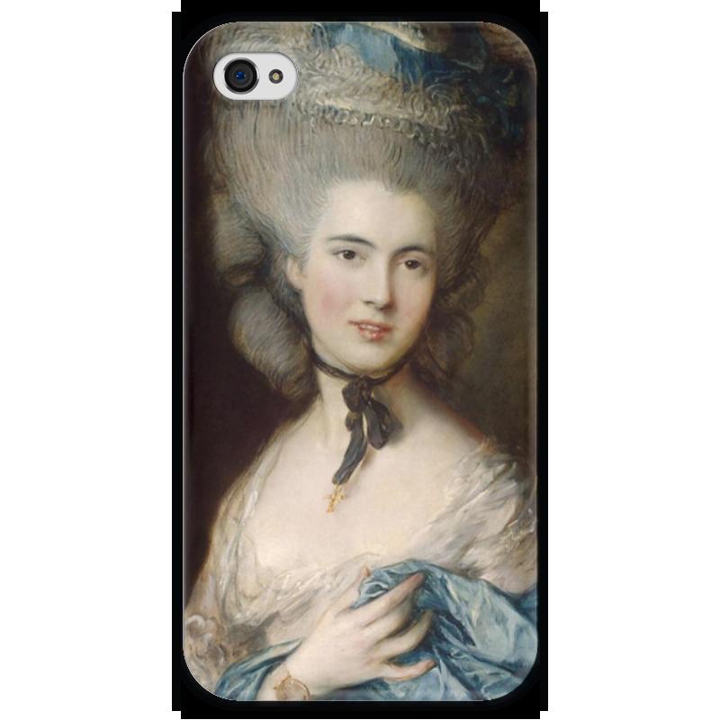 Чехол для iPhone 4 глянцевый, с полной запечаткой Printio Дама в голубом (картина гейнсборо) чехол для iphone 5 глянцевый с полной запечаткой printio дама в голубом картина гейнсборо