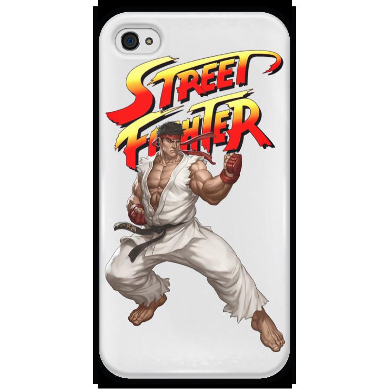 Чехол для iPhone 4 глянцевый, с полной запечаткой Printio Street fighter ryu white